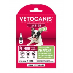 VETOCANIS ACTION DUO Anti-Flea Anti-Tick Action Pipette for Small Dogs and for Habitat  - 1