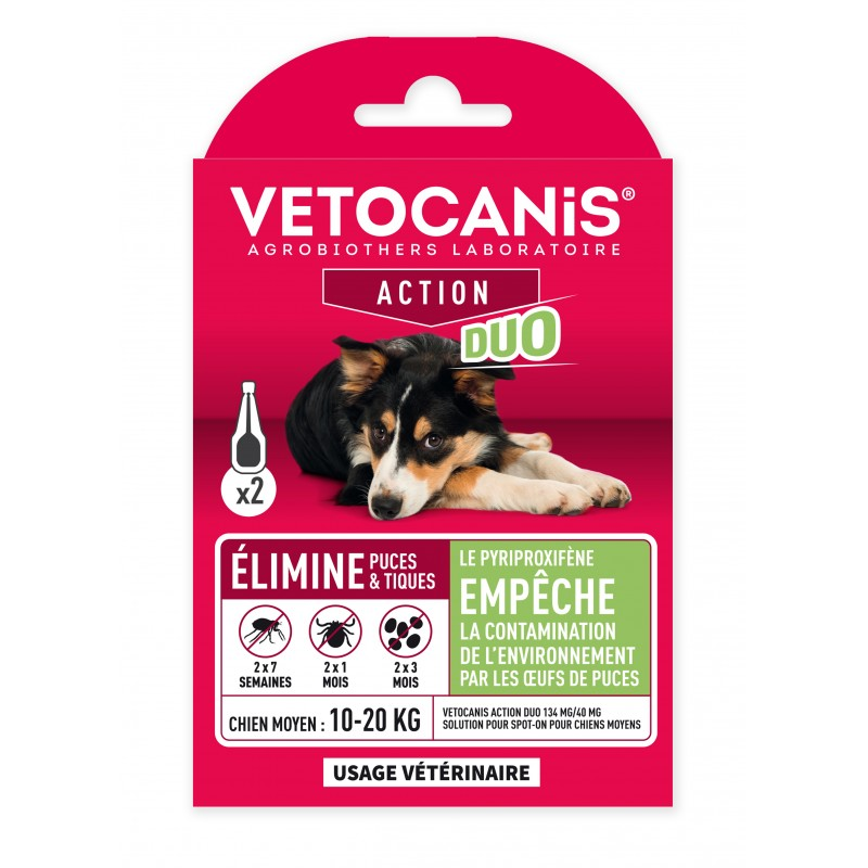 VETOCANIS ACTION DUO Anti-Flea Anti-Tick Action Pipette for Medium-Sized Dogs and for Habitat  - 1