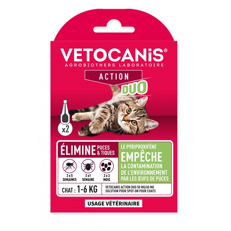 VETOCANIS ACTION DUO Anti-Flea Anti-Tick Pipettes for Cats and for Habitat  - 1