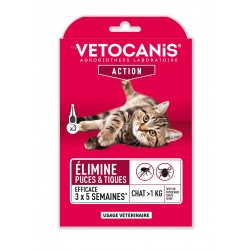 FIPROCANIS, Pipettes Action Anti-Puces Anti-Tiques pour Chat, X3  - 1