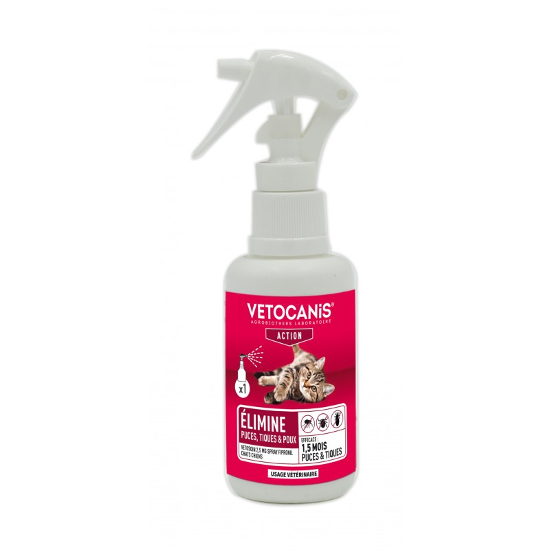VETOCANIS ACTION Spray Anti-Puces Anti-Tiques au Fipronil pour Chat  - 1