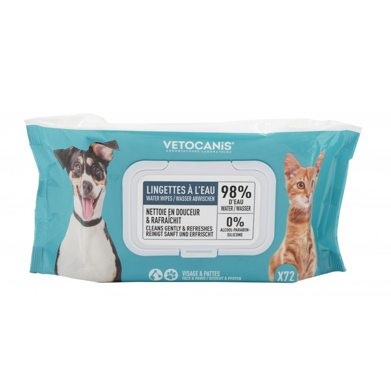 Large Format Cleansing Wipes for Cats and Dogs X72  - 1