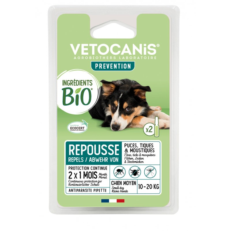 PREVENTIS Organic Ingredients Anti-Parasite Spot-On Solution for Medium-Sized Dogs X2  - 1