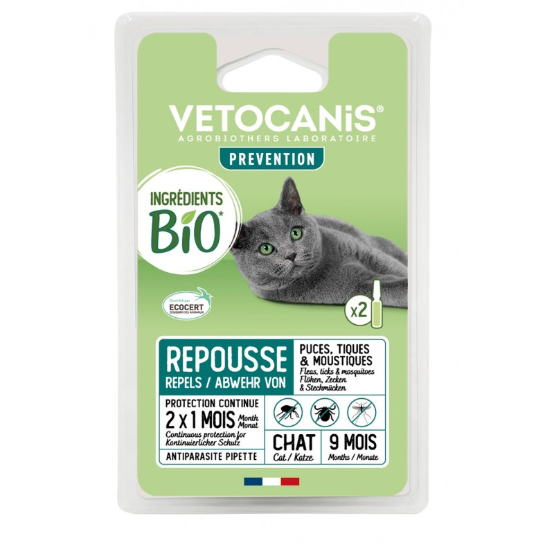 PREVENTIS Organic Ingredients Anti-Parasite Spot-On Solution for Cats X2  - 1